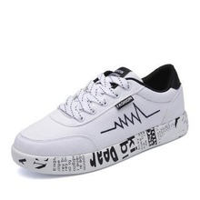 цена на 2020 Women Spring Summer Shoes Sneakers Lace-up Print Casual Shoes Low Top Graffiti Canvas Shoes Flat High Quality Canvas Shoes