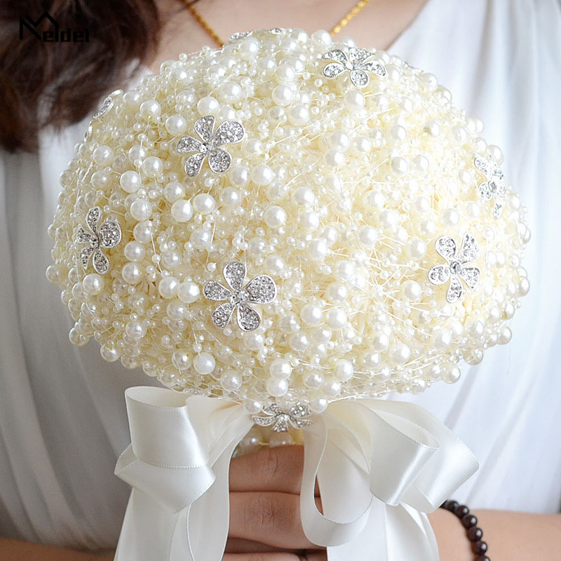Meldel Wedding Bouquet For Bridesmaids Pearl Rhinestone Wedding Flower Bridal Bouquet Artificial Hand Holder Marriage Decoration