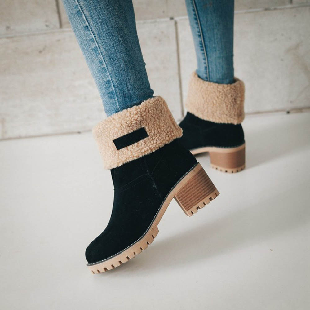 Women Winter Fur Warm Snow Boots Ladies Warm Wool Booties Boot Comfortable Shoes Plus Size 35-43 Women