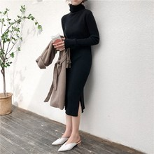 Autumn Winter Casual Turtleneck Sweater Dress Elastic Long Sleeve Split Straight Bodycon Solid Ribbed Knitted Robe