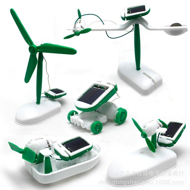 Набор роботов 6 в 1 на солнечных батареях, игрушки для сборки, мини-вентилятор, модель автомобиля, научная лаборатория, сделай сам, детские те...