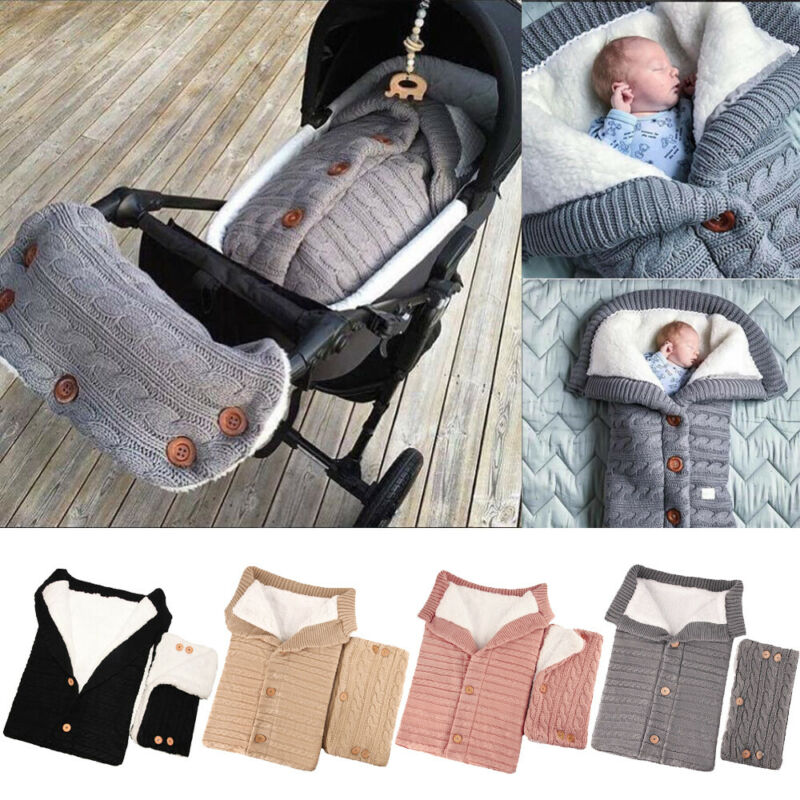 Newborn Baby Swaddle Wrap Warm Blanket Knitting Sleeping Bag+Pram Handrail Sets 2Pcs Baby Warm Soft Plush Sleeping Bags