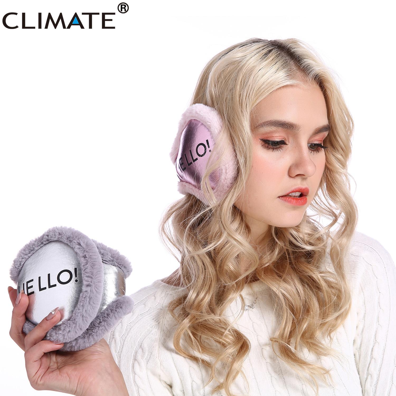 CLIMATE Women Earmuffs PU Winter Folding Ear Warmer Cover Fold Muff Cool Army Warm Ear Muff PU Blank Ear Muffs For Men Women