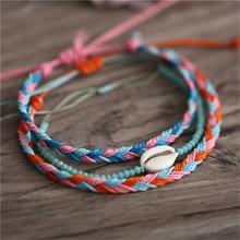 3Pcs Bohemian Natural Shell Hand Knit Bracelet for Women Macrame Set Beach Jewelry Bracelets