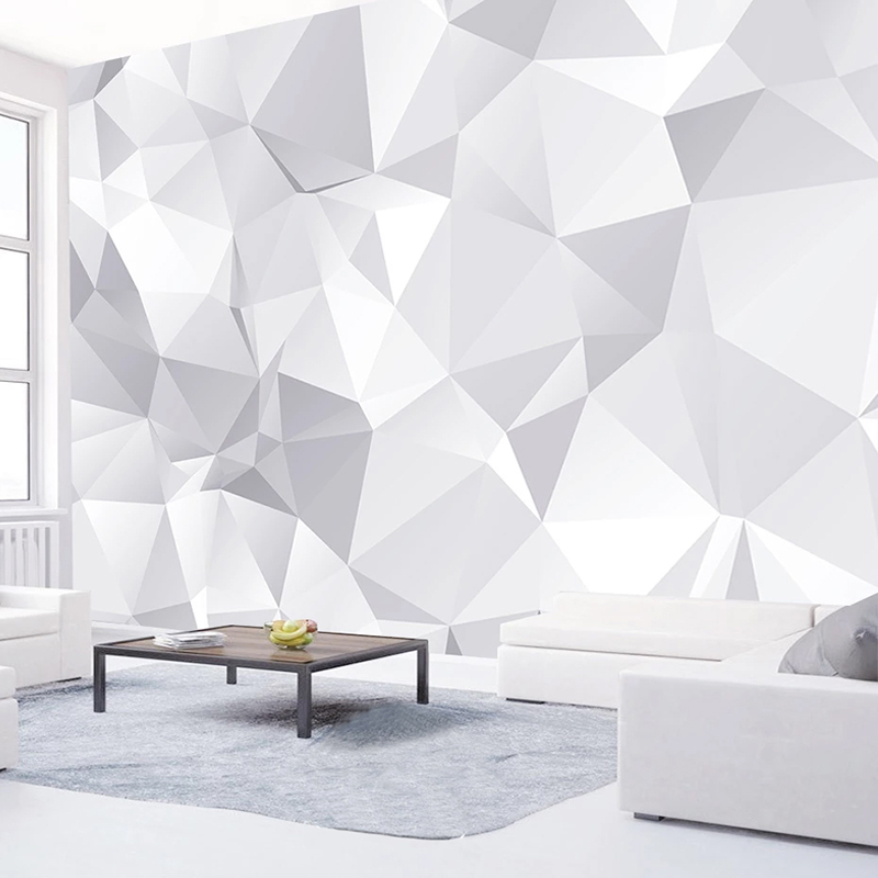 Custom 3D Wall Murals Wallpaper White Grey Geometric Modern Living Room TV Background Wall Papers Home Decor Papel De Parede 3D