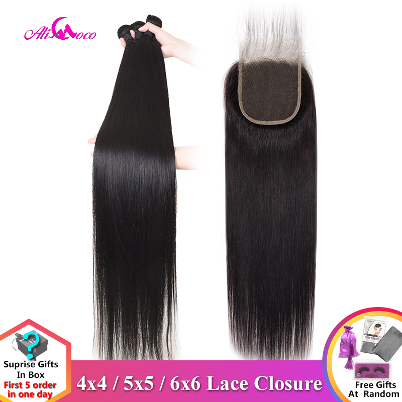Ali Coco Straight Bundles With Closure 30 Inch 32 34 36 Inch Brazilian Human Hair Weave Bundles With Closure Remy Hair Extension