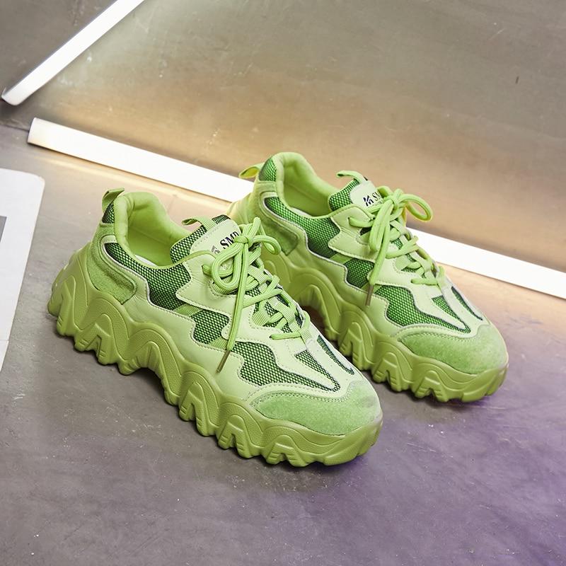 2020 Women Chunky Sneakers INS Fashion Tenis Female Green Platform Sneaker Brand Walking Casual Shoes Woman Vulcanized Shoes
