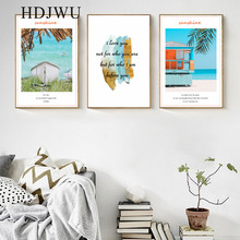 Nordic Simple Sea Scenery Art Canvas Painting Pictures Home Wall Printing Posters for Living Room AJ00351