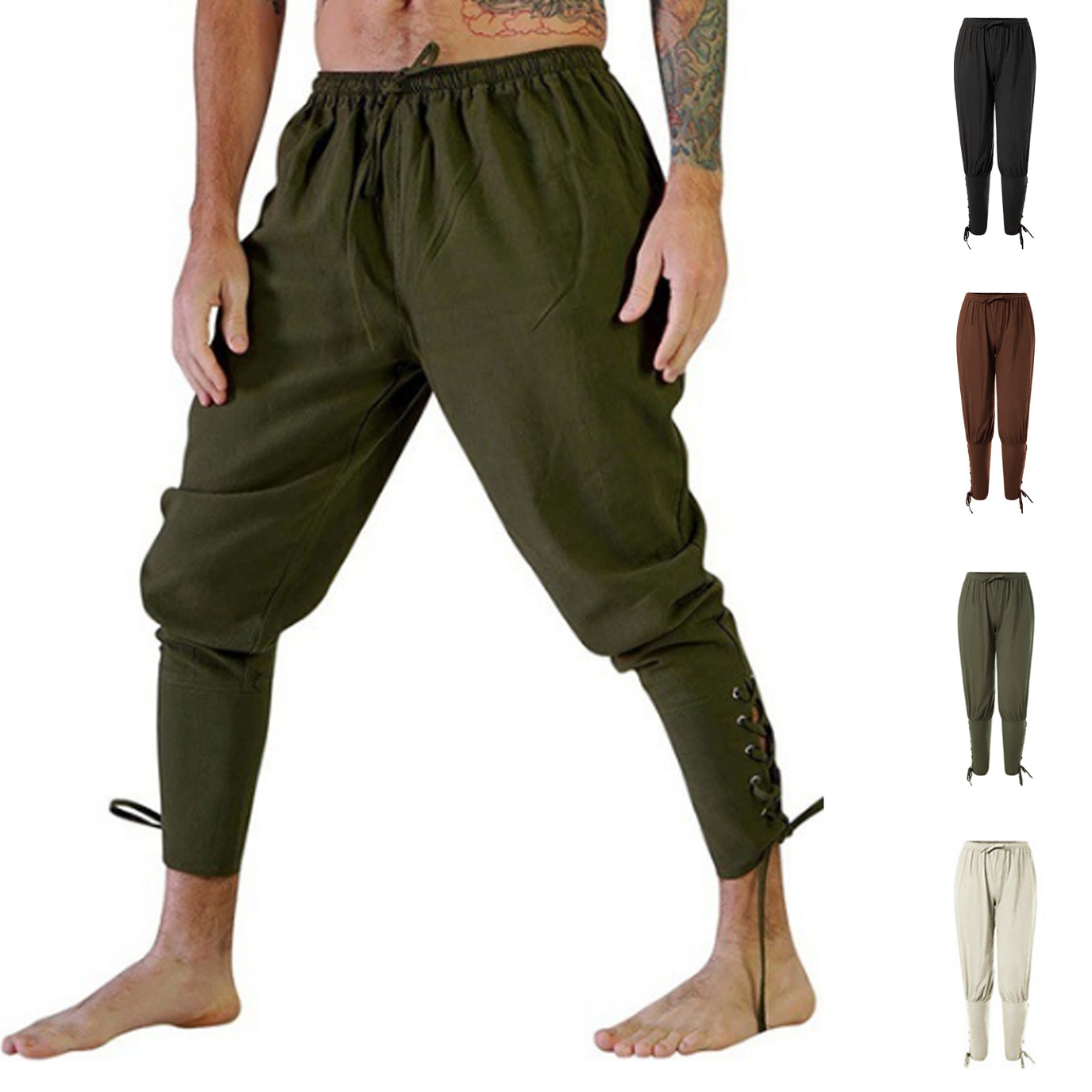 2019 Autumn And Winter New Style Casual Trousers Ankle Strap Pants Medieval Pirate 00288