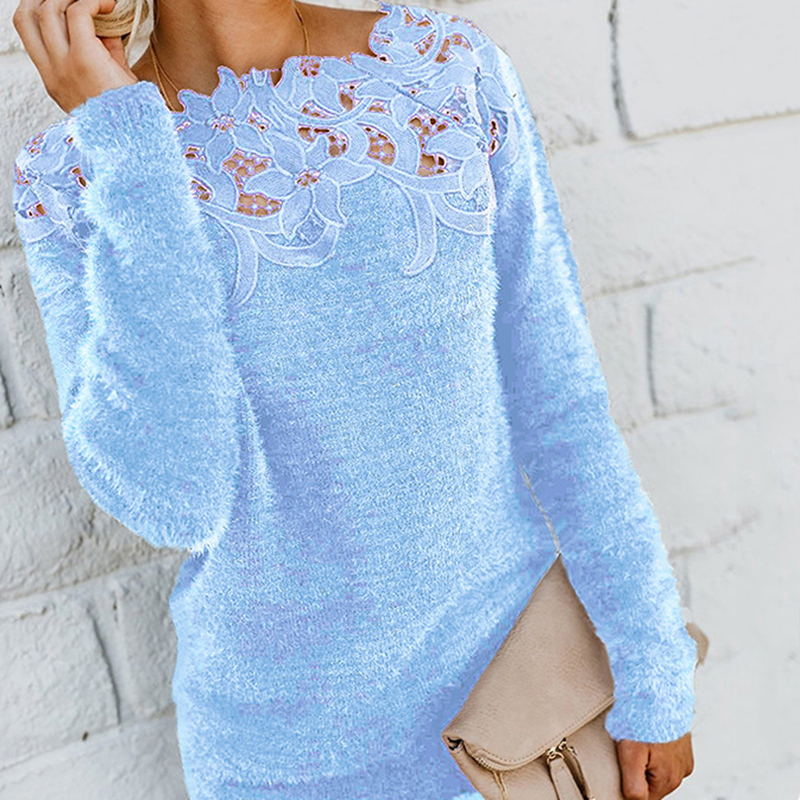 Fashion Women's Loose Knitted Pullover Tops Long Sleeve Autumn Winter Black Jumper Sweater Lace Patchwork Off-shoulder Knitwear