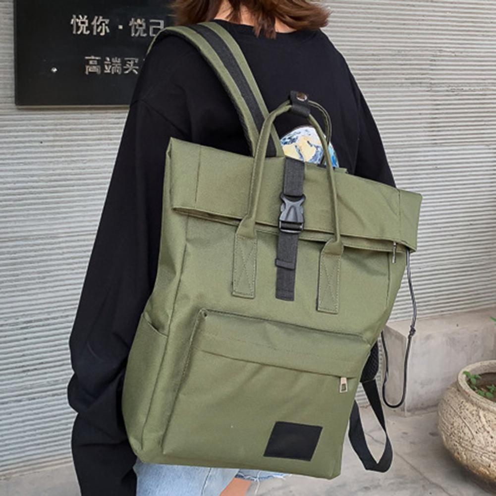 Backpack Korean Version Of The Roll Cover College Wind Men And Women Models USB Interface 15.6-inch Computer Bag Large Backpack