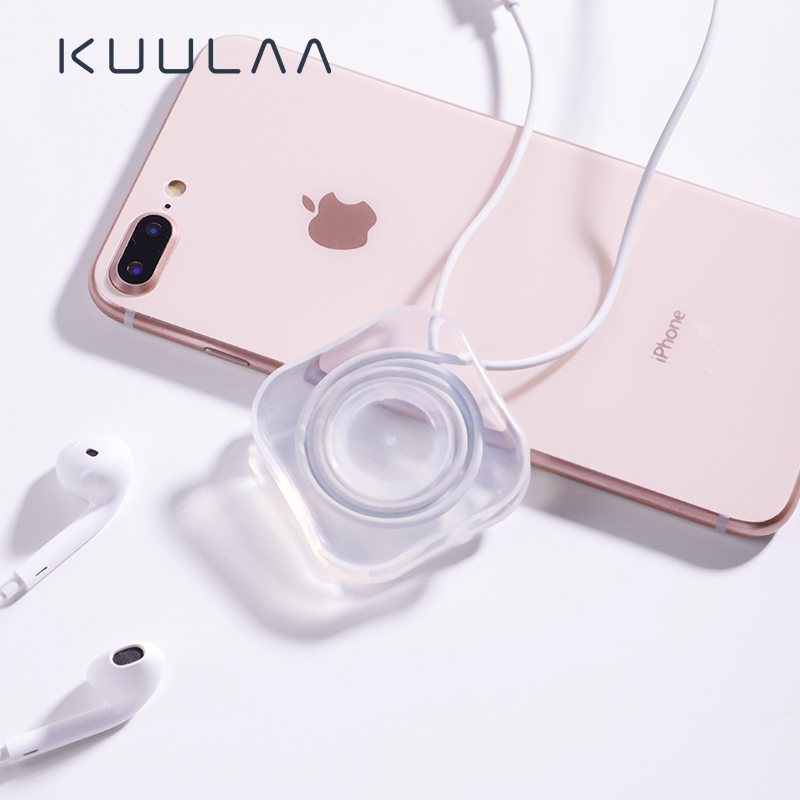 KUULAA Suction Desktop Wall Mobile Phone Holder Stand USB Cable Organizer Winder For Earphone Wire Cord Management Protector