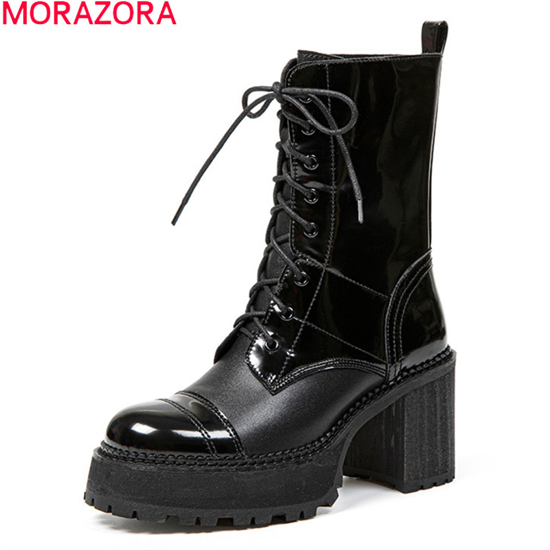 MORAZORA 2020 Genuine leather boots square heels round toe lace up ladies shoes autumn winter ankle boots for woman