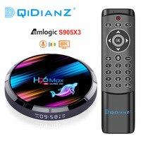 Boîtier TV H96 MAX X3, Android 9.0, Amlogic S905X3 Quad core, 4 go/128 go, lecteur multimédia 8K/PK X96AIR/HK1/X88, avec Wifi et Google Voice