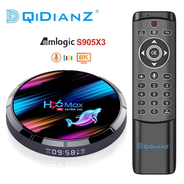 H96 MAX X3 Android 9.0 TV Box 4GB 128GB Amlogic S905X3 Quad core Wifi 8K H96MAX lecteur multimédia Google voix PK X96AIR HK1 X88 BOX