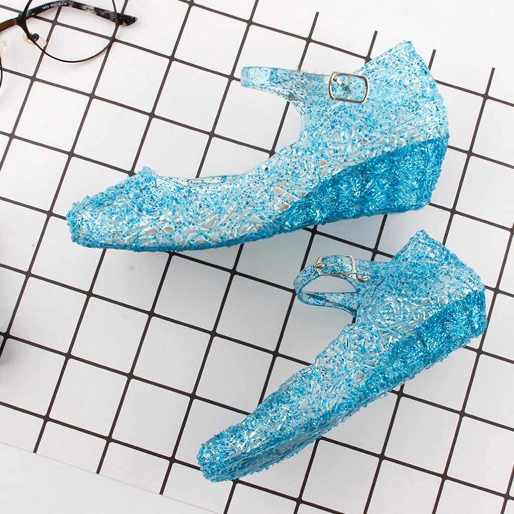 Princesa Anna Elsa zapatos Cenicienta cristal disfraz zapatos para niñas Cosplay disfraz sandalias fiesta princesa Elsa zapatos para niñas