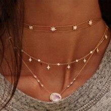 Лунные камни cz станция Ювелирная цепочка Элегантные Женские Потрясающие прекрасные ожерелья модные современные облицованные каменные шикарные ожерелья