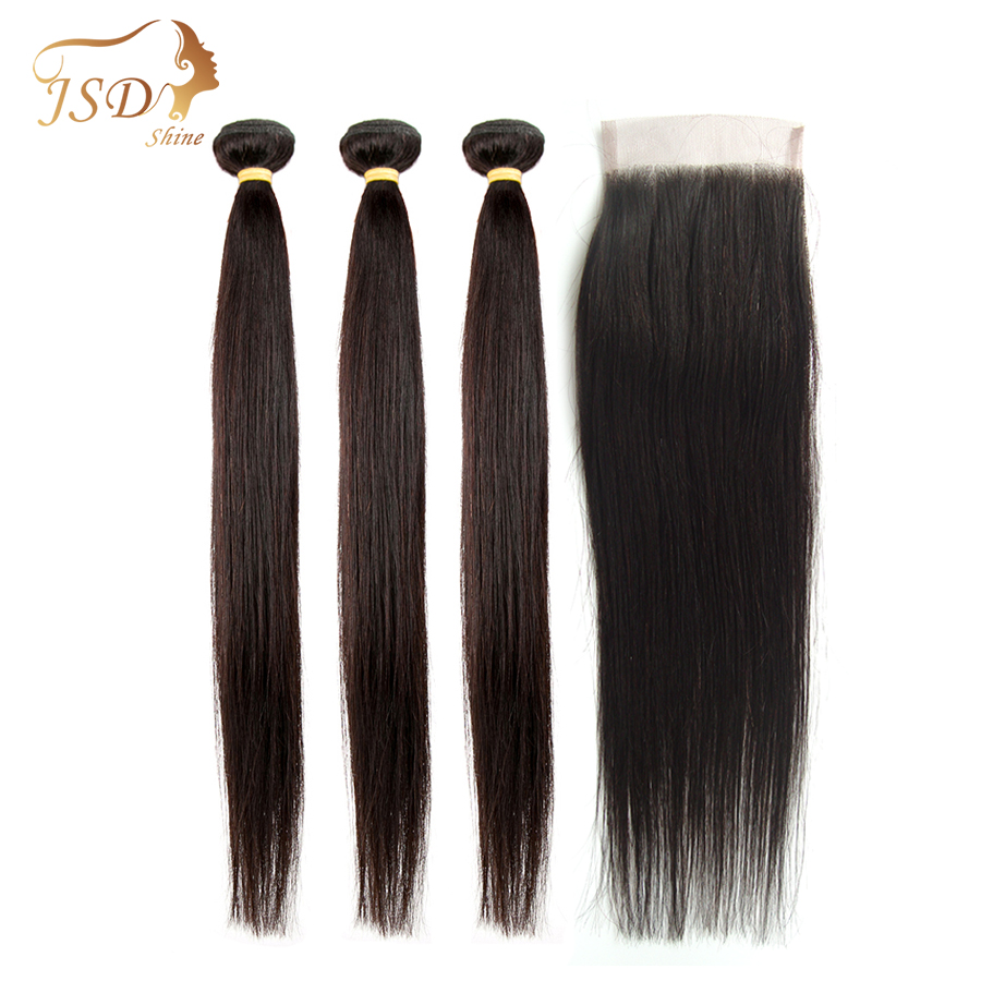 JSDShine Brazilian Hair Weave Bundles With Closure Straight Human Hair Bundles With Closure Non Remy Hair Extension Lace Closure