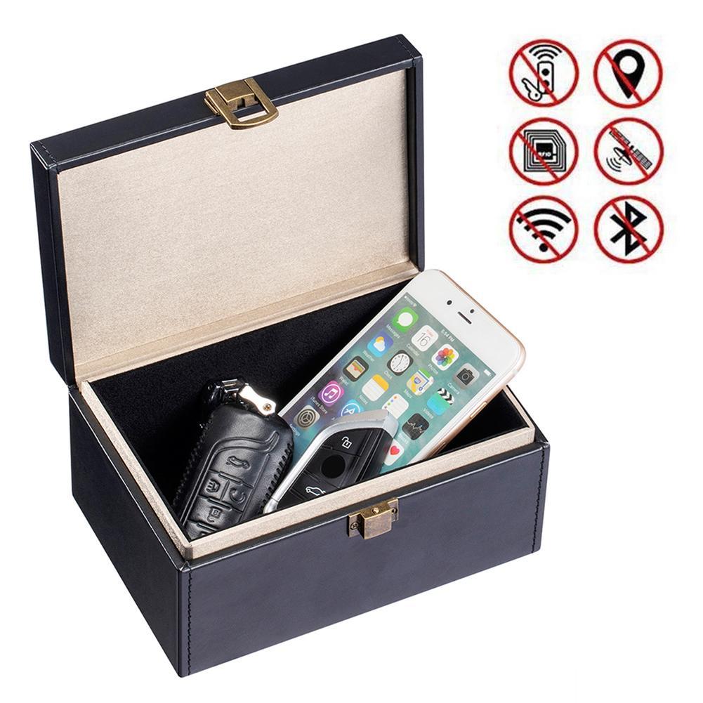 Car Key Signal Blocker Box Anti-Theft RFID Signal Blocking Bag Faraday Box For Keyless Car Keys Radiation Protection Cell Phone