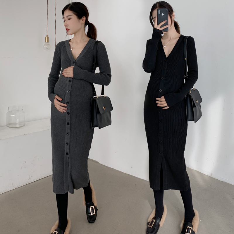 1901 Autumn Winter Korean Fashion Knitted Maternity Long Sweaters Deep V Neck Nursing Clothes For Pregnant Women Pregnancy Dress