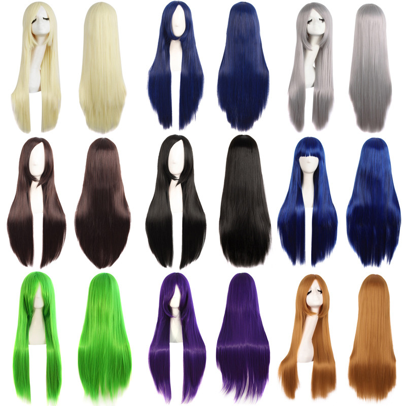MapofBeauty Long Straight Hair Black Gold Blue Green Cosplay Wigs for women Party Wigs Female Heat Resistant Synthetic Hair