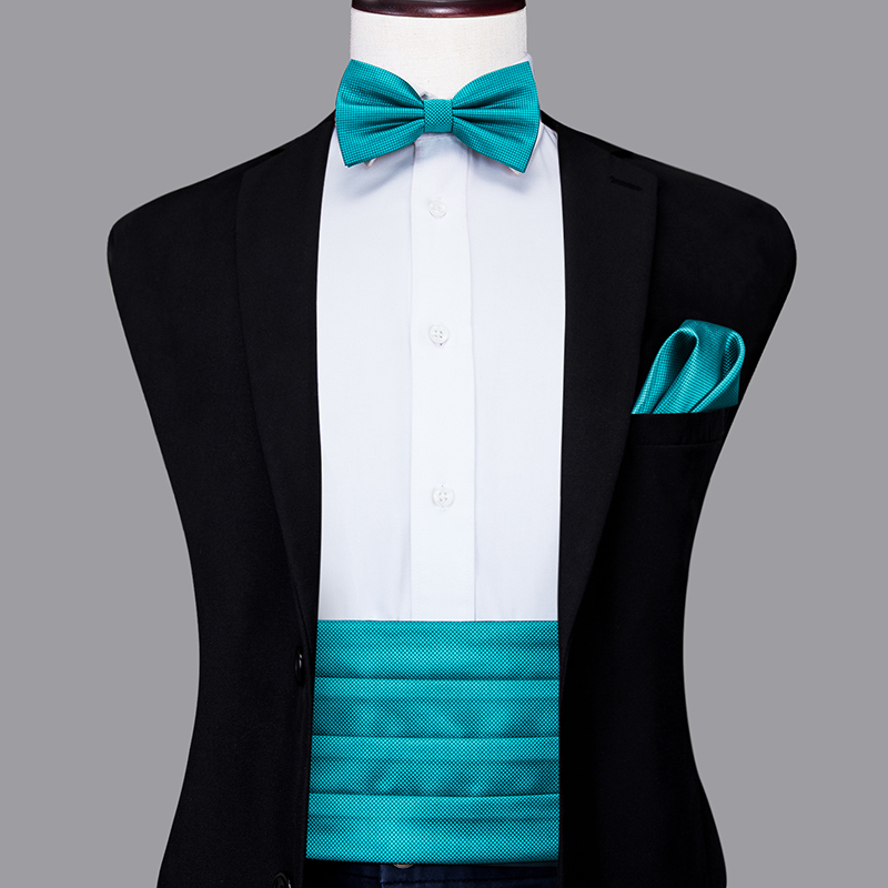 YF-2010 Hi-Tie Fashion Wedding Party Cummerbund For Men Silk Adjustable Wide Belt Cummerbund Elastic Solid Blue