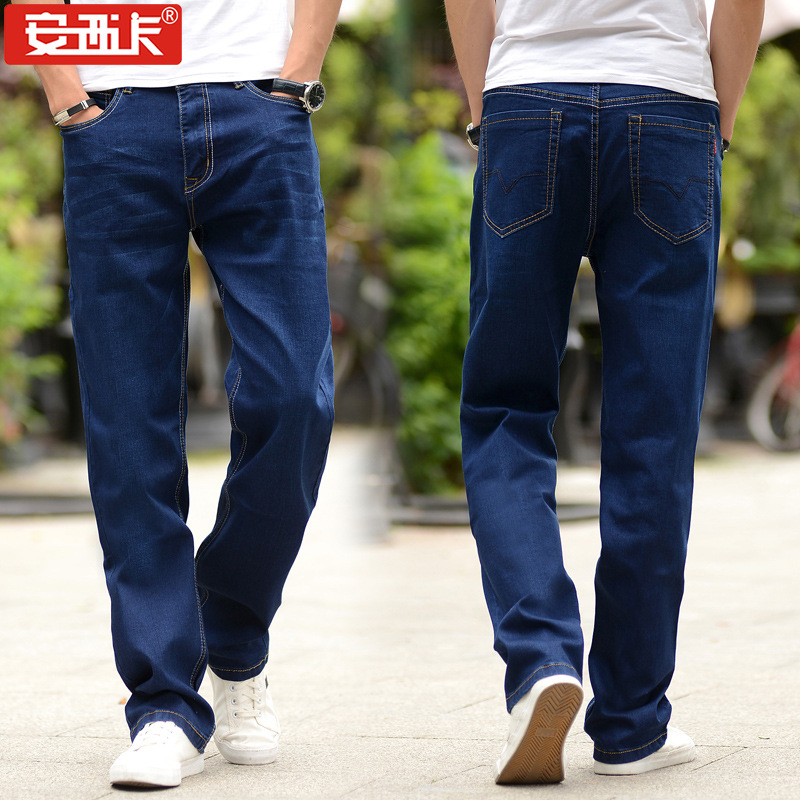 Large Size Men'S Wear New Style Loose-Fit Jeans Lard-bucket Thin Ultra-stretch Loose Straight Jeans 005B