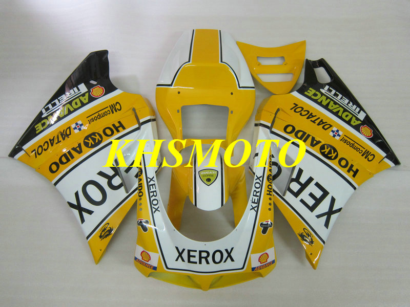 Injection Fairing kit for 748 916 996 998 03 04 05 748 916 996 998 2003 2004 2005 ABS Yellow white Fairings set+gifts DE12