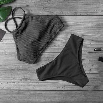 Ribbed Halter Top Biquini Bikini Set 3