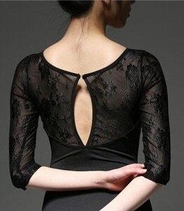Image 5 - Kadın bale Leotard yüksek kaliteli orta kollu dantel bale dans kostüm yetişkin bale tulum jimnastik dans mayoları