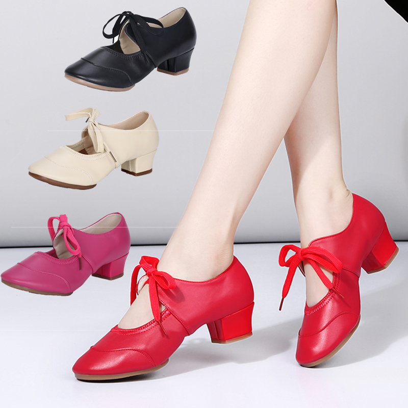 New Women Dance Shoes Girls Latin Modern Tango Ballroom Dance Shoes Professional Soft Sandal Dancing Shoes Red Black Hot Selling