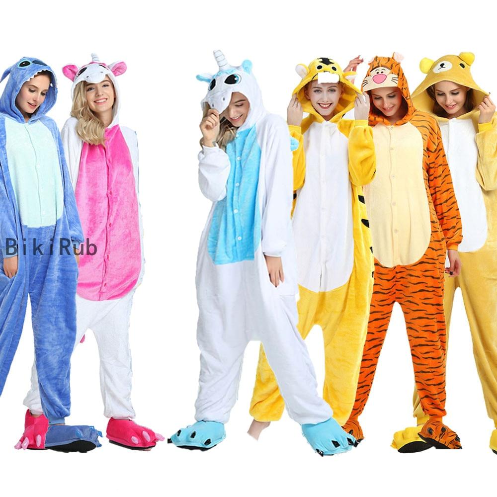Женские комбинезоны с единорогом, осенне-зимние ползунки «панда», детская одежда для сна, Аниме Костюмы, фланелевые пижамы для взрослых, муж...