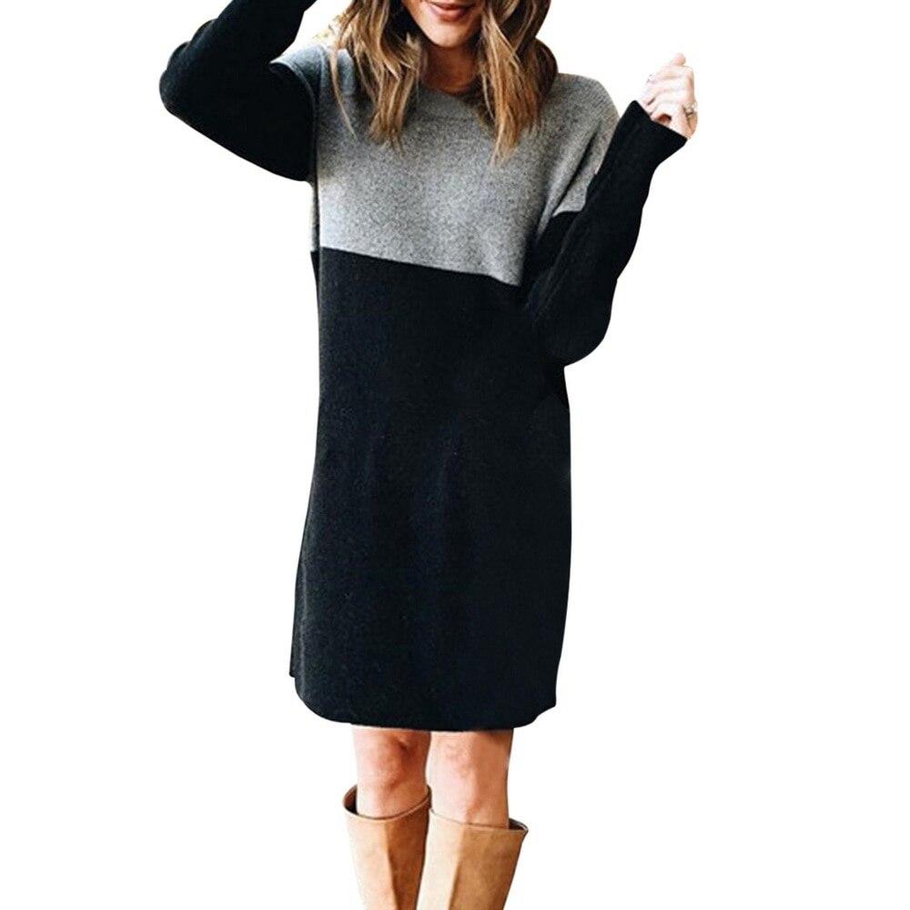 Women Autumn Dress Long Sleeve Stripe Patchwork O-neck Mini Dress Fashion Clothing Loose Casual Autumn Winter Vestido 9
