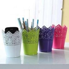 Металлический полый цветок ручка карандашный горшок контейнер Органайзер держатель щеток для макияжа милый Органайзер украшение для дома