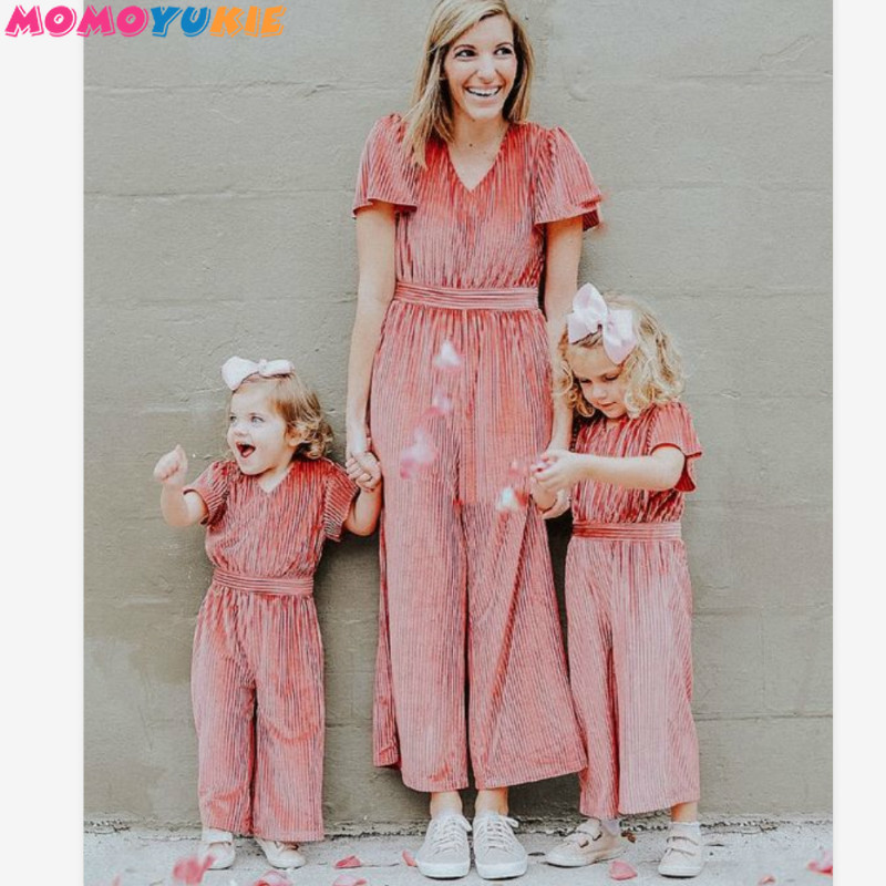 2019 Mother And Daughter Family Matching Jumpsuits Momy And Me Velvet Short Sleeve Romper Outfits Mom Girls Parent-child Dress