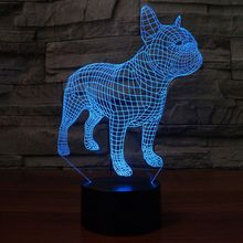 French Bulldog Night Light 3D Table Lamp 7 Colors USB Desk Lights Children Kids Birthday Christmas Gifts Home Bedroom Decor