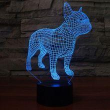 French Bulldog Night Light 3D Table Lamp 7 Colors USB Desk Lights Children Kids Birthday Christmas Gifts Home Bedroom Decor