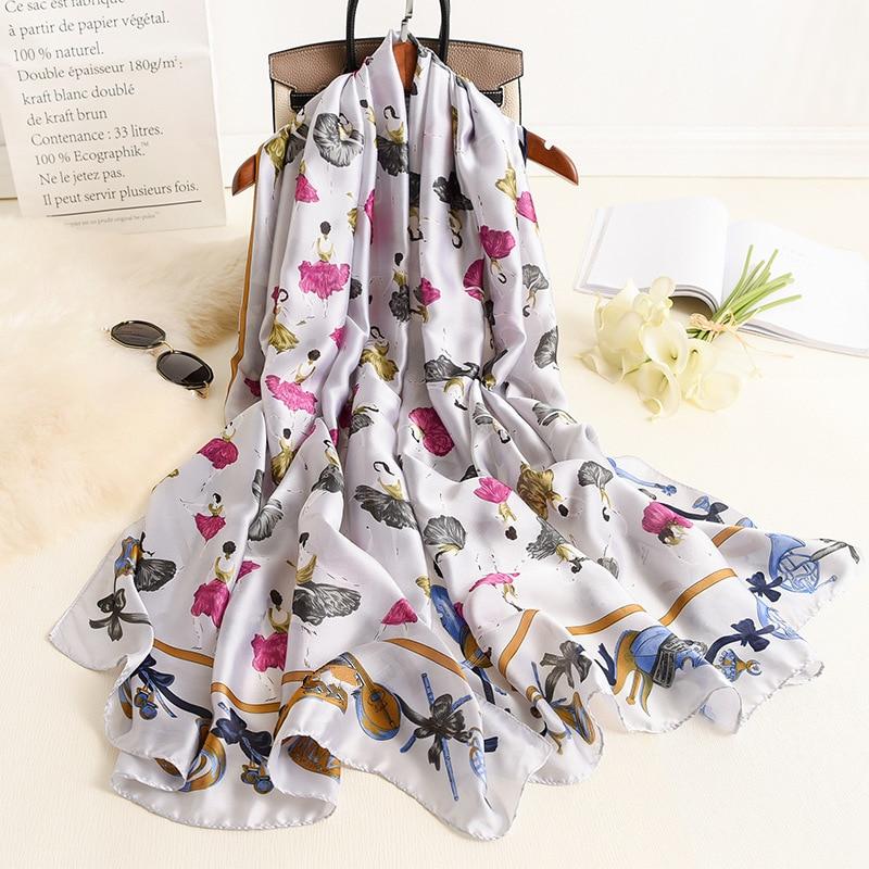 Ballerina Girl Pattern Silk Scarf 2020 New Shawls And Wraps Fashion Neck Scarves For Women High Quality Foulard Bandana Hijab