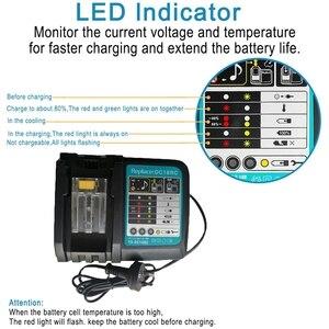 Image 3 - Cargador de batería Li Ion 3A corriente de carga para Makita 14,4 V 18V Bl1830 Bl1430 Dc18Rc Dc18Ra herramienta eléctrica Dc18Rct enchufe de carga Eu