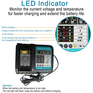 Image 3 - Li Ion Battery Charger 3A Charging Current For Makita 14.4V 18V Bl1830 Bl1430 Dc18Rc Dc18Ra Power Tool Dc18Rct Charge Eu Plug