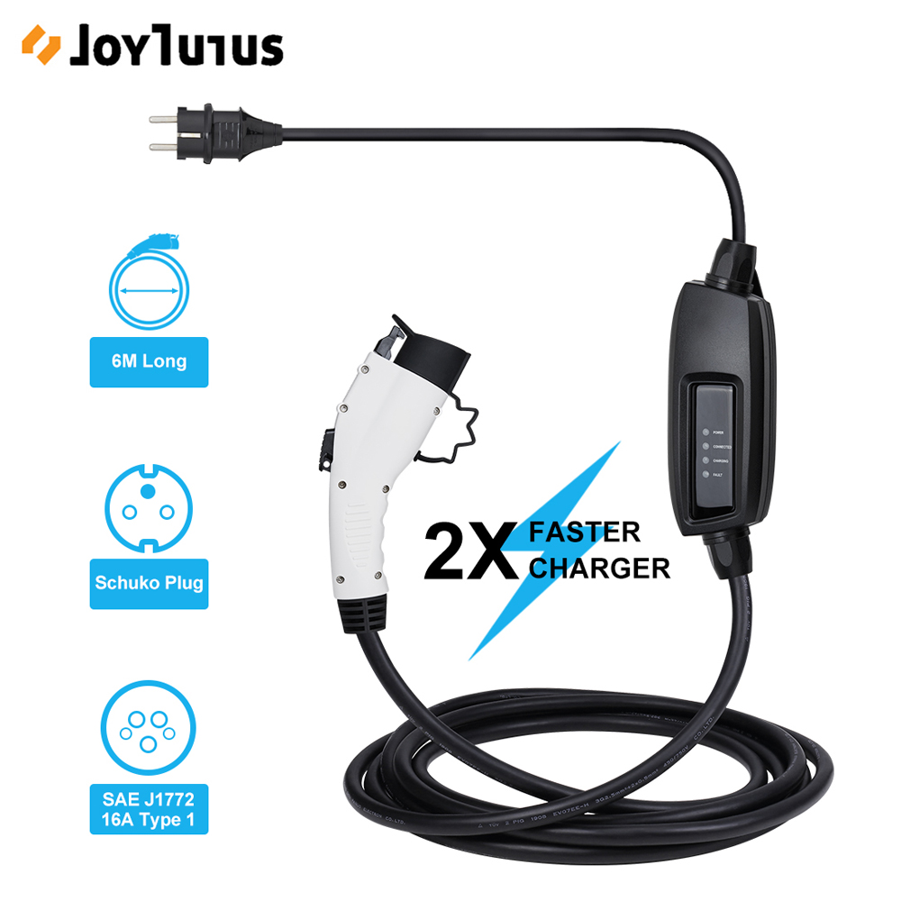 <font><b>J1772</b></font> EVSE 6m Cable Input EV Plug Level 2 Charger 16A Type 1 Schuko for Electric Car Charging image