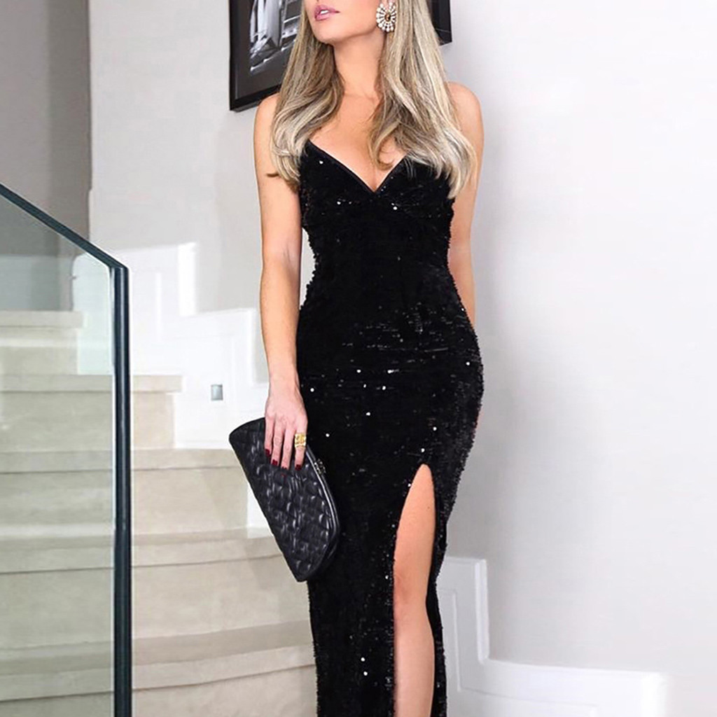 Fashion Women Sexy Dresses Deep V Neck Dresses Sequins Wrap Ruched Nightclub Sleeveless Party Dress Robe Longuemodis#sw