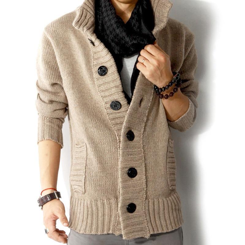 Zogaa 2019 Autumn Winter Men's Sweater Stand Collar Cardigan Coat Lycra Spandex Men Outwear Warm Knitted Jacket Casual Sweaters