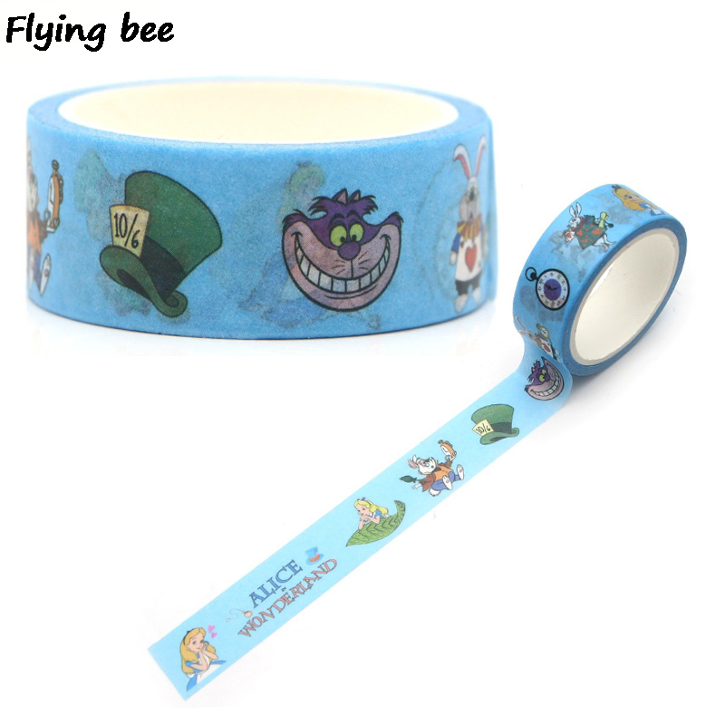 Flyingbee 15mmX5m Cartoon Cute Kids Washi Tape Paper DIY Decorative Adhesive Tape Girls Masking Tapes Supplies X0272