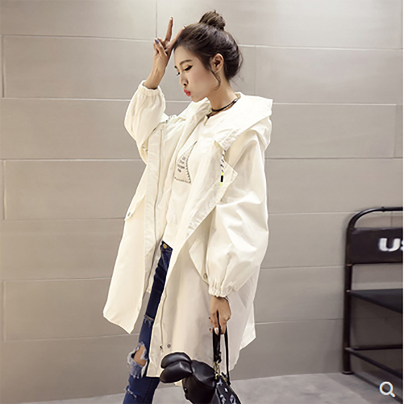 2021 regular new spring and autumn large size mid-length zipper hooded bat sleeve loose top coat women