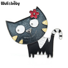 Cat Brooches Gifts Animal Women Enamel New-Year Cute for 4-Color Pins Wuli Wuli