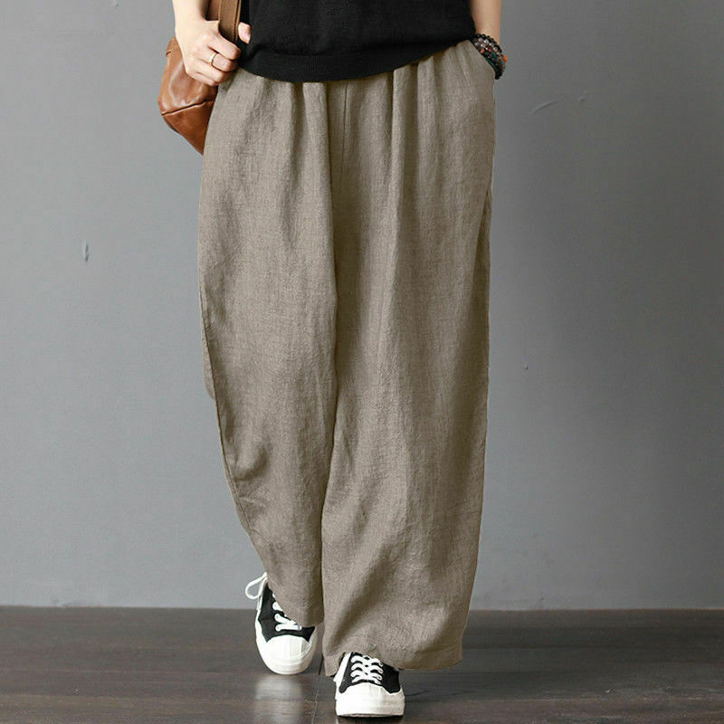 Plus Size Men Cotton Linen Wide Leg Harem Pants Loose Casual Baggy Trousers Leisure Holiday Beach Casual Chino Cargo Pants
