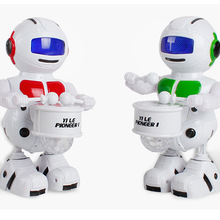 360 Rotating Smart Space Dance Drum Robot Electronic Walking Toys With Music Lig