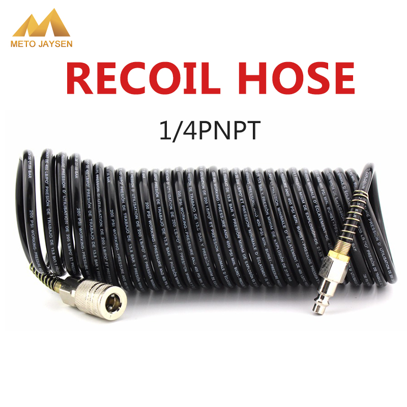 7M PE Pressure Hose Air Compressor Connector 1/4 NPT Thread Male Female Quick Release Set Recoil Hose Line Tube Coil Tools