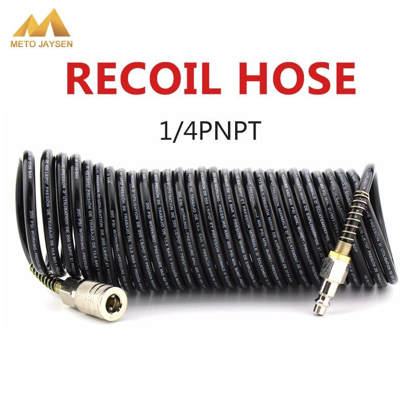 7M PE Pressure Hose Air Compressor Connector 1/4 NPT Thread Male Female Quick Release Set Recoil Hose Line Tube Coil Tools